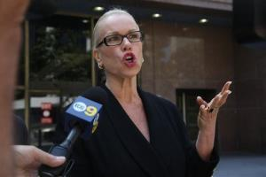 Jean Kasem, wife of veteran radio personality Casey Kasem, talks to the media outside Los Angeles Superior Court Wednesday, June 11, 2014.