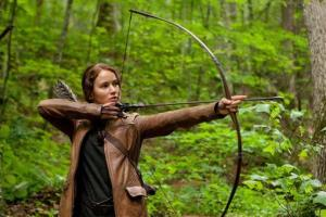 Jennifer Lawrence portrays Katniss Everdeen in a scene from The Hunger Games.
