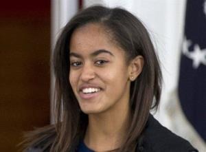 This Nov. 27, 2013 file photo shows President Barack Obama's daughter Malia at the White House in Washington.