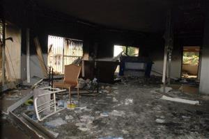 Glass, debris and overturned furniture are strewn inside a room in the gutted US consulate in Benghazi, Libya after an attack that killed four Americans, including Ambassador Chris Stevens.