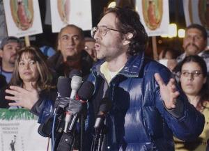 FILE - Dov Charney at a rally at Los Angeles' downtown Plaza in this Dec. 11, 2003 file photo.