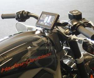 This photo shows the control screen on Harley-Davidson's new electric motorcycle at the company's research facility in Wauwatosa, Wis.