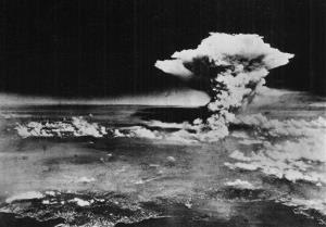 In this Aug. 6, 1945 file photo released by the US Army, a mushroom cloud billows about one hour after a nuclear bomb was detonated above Hiroshima, Japan.