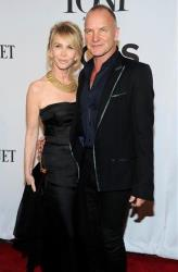 Trudie Styler, left, and Sting arrive at the 68th annual Tony Awards at Radio City Music Hall on Sunday, June 8, 2014, in New York.