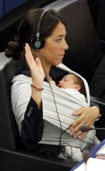 Italian Member of the European Parliament Licia Ronzulli takes part in a vote on maternity leave.