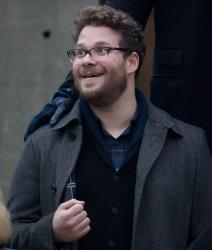 Canadian actor Seth Rogen poses for a photograph on set during the filming of the movie The Interview.