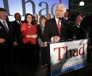 Thad Cochran addresses supporters and volunteers at his runoff election victory party Tuesday, June 24, 2014, at the Mississippi Children's Museum in Jackson, Miss.