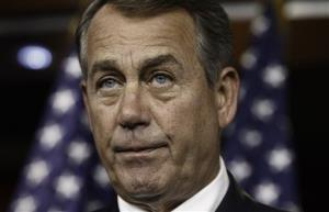 Speaker of the House John Boehner meets with with reporters yesterday.