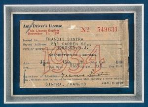 This photo provided by LegendaryAuctions.com shows Frank Sinatra's 1934 New Jersey driver's license.