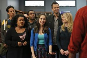 From left, Danny Pudi as Abed, Yvette Nicole Brown as Shirley, Donald Glover as Troy, Alison Brie as Annie, Joel McHale as Jeff Winger, Gillian Jacobs as Britta in season four of Community.