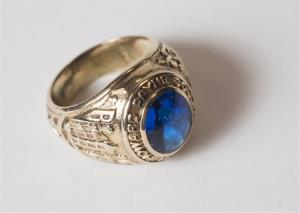 This June 10, 2014, handout photo proved by Howard Payne University shows A 1953 Howard Payne University class ring in Brownwood, Texas.