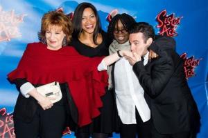 "Joy Behar, from left, Grace Hightower DeNiro, Whoopi Goldberg and Mario Cantone arrive to the opening night performance of the Broadway musical ""Sister Act"" in New York, Wednesday, April 20, 2011."
