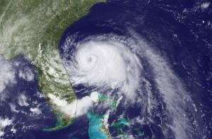 This NOAA image shows  Arthur moving north off the east coast of Florida.