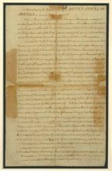 This image made available Wednesday, July 2, 2014 by the British Library shows page one of the U.S. Declaration of Independence.