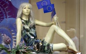 A window mannequin with EU flags ... we imagine Hustler Hollywood's display is a lot more risque.