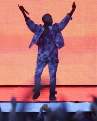 Kanye West performing on the Main Stage at the Wireless Festival in Finsbury Park, north London, Friday July 4, 2014.