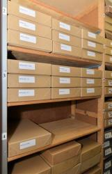 This undated image made available by the Churchill Archive Centre shows the Mitrokhin Archive stacked on a shelf at the Churchill Archive Centre in Cambridge England.