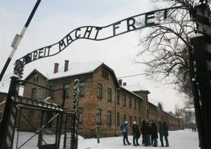 The same slogan appears over the entrance to Auschwitz.