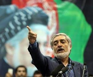 Afghan presidential candidate Abdullah Abdullah speaks during a gathering of his supporters in Kabul, Afghanistan, Tuesday, July 8, 2014.
