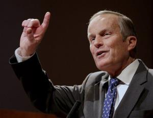 Republican US Senate candidate Todd Akin addresses supporters during a campaign event Nov. 3, 2012, in Kansas City, Mo.