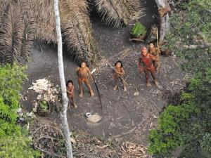 In this 2010 file photo, an isolated tribe in the Amazon watches a plane. This is believed to be the same tribe that just made contact with outsiders.