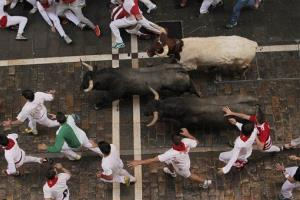 Revelers fall as Adolfo Martin fighting bulls run during the running of the bulls at the San Fermin festival, in Pamplona, Spain.