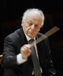 Lorin Maazel, then musical director of the New York Philharmonic, is seen during a rehearsal in Seoul, South Korea in 2008.