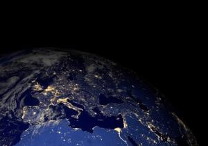 The Earth from space at night. Elements of this image furnished by NASA.