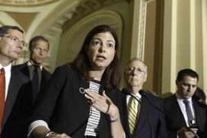 Sen. Kelly Ayotte, R-N.H., center, joined by Senate GOP leaders, talks to reporters about competing bills on employee health coverage and birth control, Tuesday, July 15, 2014.