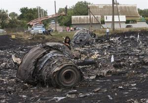 A woman walks at the site of a crashed Malaysia Airlines passenger plane near the village of Rozsypne, eastern Ukraine Friday, July 18, 2014.