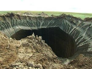 This frame grab  shows a crater discovered in Siberia's Yamal Peninsula.