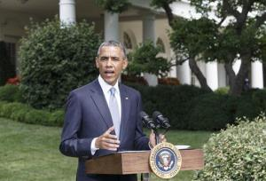President Obama makes a statement on the situation in Ukraine and Gaza, at the White House, Monday, July 21, 2014.