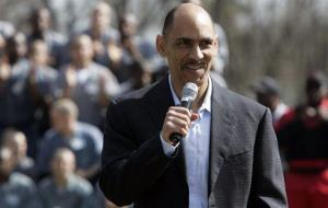 Former NFL football coach Tony Dungy talks to inmates at Broad River Road Correctional Complex on Tuesday, March 16, 2010, in Columbia, SC.