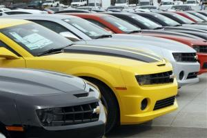 A line of 2012 Camaros at a Chevrolet dealership near Denver. This model is among those recalled for faulty seats.