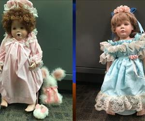 Two of the dolls found on the doorsteps of homes in San Clemente, Calif., in recent days.