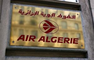 The logo of the Air Algerie company office is seen in Paris.