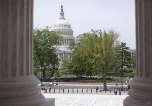 The US Capitol is seen through the columns on the steps of the Supreme Court on May 5, 2014, in Washington.
