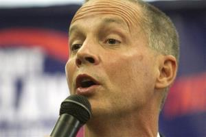 Curt Clawson speaks at an election party June 24 in Bonita Springs, Fla.