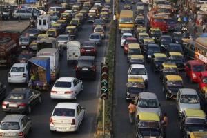 Motorists drive at a traffic jam in Mumbai, India, in this file photo.