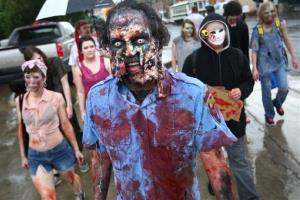 Greg Withrow participates in the 2014 Zombie Walk from South Main to Beale Street in Memphis, Tenn. Friday, May 30, 2014.