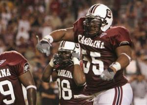 FILE - In this Sept. 1, 2005 file photo, South Carolina's Stanley Doughty (55) celebrates with his teammates after stopping Central Florida from scoring during an NCAA college football game in Columbia, S.C. Doughty is one of the plaintiffs in a class-action head injury lawsuit working its way through...