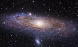 This image made by the Hubble Space Telescope shows the Andromeda Galaxy.