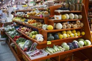 A variety of fruits and vegetables are displayed for sale at a market in Washington, Thursday, April 24, 2014.