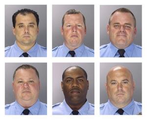 The indicted officers—top, left to right: Thomas Liciardello, Brian Reynolds, Michael Spicer; and bottom, left to right: Perry Betts, Linwood Norman, and John Speiser.