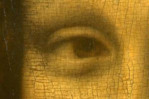 This picture shows a detail of the right eye of Leonardo da Vinci's Mona Lisa.