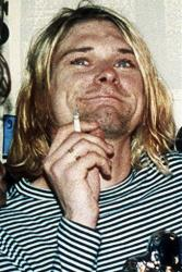 This 1993 file photo shows Kurt Cobain, lead singer of Nirvana.