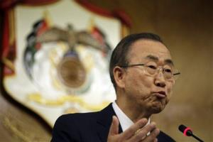 UN chief Ban Ki-moon speaks on the war in Gaza, in Amman, Jordan, Wednesday, July 23, 2014.