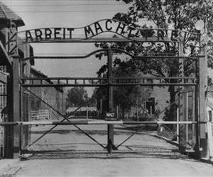 This undated file image shows the main gate of the Nazi concentration camp Auschwitz I, Poland, which was liberated by the Russians in January 1945.