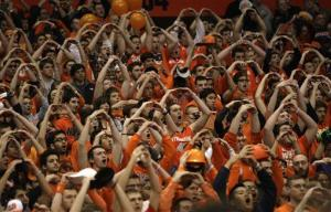 The Syracuse University student section in the Carrier Dome before a basketball game.