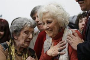 Estela de Carlotto, president of Grandmothers of the Plaza de Mayo, right, reacts before a news conference in Buenos Aires, Argentina, yesterday.